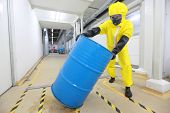 foto of bio-hazard  - Worker in protective uniform - JPG