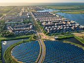 Modern Sustainable Neighbourhood In Almere, The Netherlands. The City Heating (stadswarmte) In The D poster