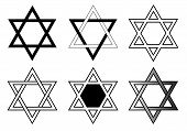 Set Of Editable Black And White Star Of David Vectors, The Religious Symbol Of Judaism, A Six-pointe poster