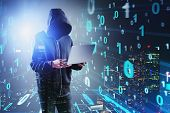 Hacker With Laptop And Binary Numbers Interface poster