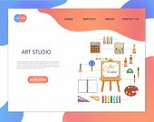 Art Studio Illustration. Set Of Tools And Materials For Creativity And Painting. Art Studio, Open Ar poster