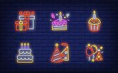New Year Party Neon Sign Collection. Glowing Neon Giftbox, Cake. Holiday, Celebration, Present. Vect poster