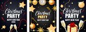 Christmas Party Invitation Card Set. Gold Baubles, Champagne Flutes, Streamer, Sparkle, Clock On Bla poster