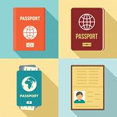 Passport Icons Set. Flat Set Of Passport Vector Icons For Web Design poster