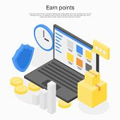 Earn Points Concept Banner. Isometric Illustration Of Earn Points Vector Concept Banner For Web Desi poster