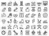 Outdoor Fitness Icons Set. Outline Set Of Outdoor Fitness Vector Icons For Web Design Isolated On Wh poster