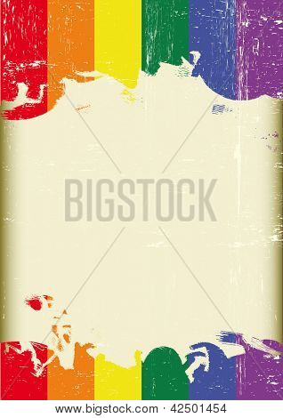 Grunge Gay flag. A poster with a large scratched frame and a grunge rainbow flag for your publicity.