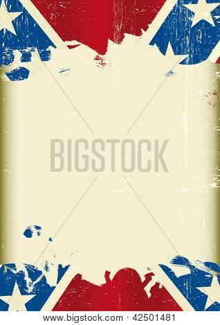 Grunge confederate flag. A poster with a large scratched frame and a grunge confederate flag for your publicity.