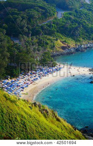 Tropical sandy beach and calm lagoon with clear blue water. Ya Nui beach, Phuket, Thailand