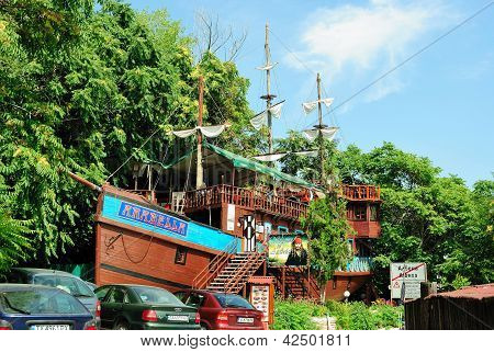 ALBENA, BULGARIA - AUGUST 31, 2011: Bar Arabella in the form of a pirate ship in Albena, Bulgaria