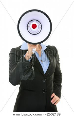 Megaphone business person concept. Businesswoman in suit screaming, yelling or talking in megaphone hiding head. Business woman isolated on white background in studio.