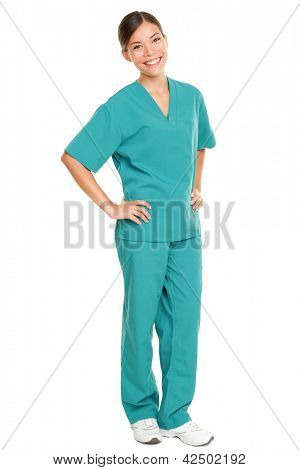 Medical nurse isolated in full body length in green scrubs on pure white background. Multiracial Asian and Caucasian female medical professional doctor or nurse smiling happy and joyful