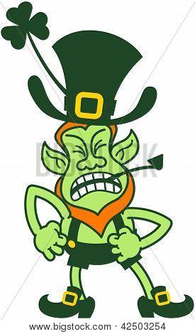 Leprechaun irritado de dia de São Patrício