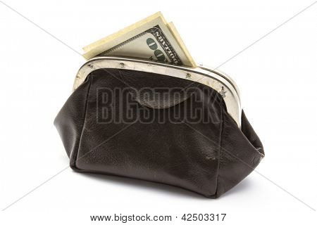 USD in old purse isolated on white background