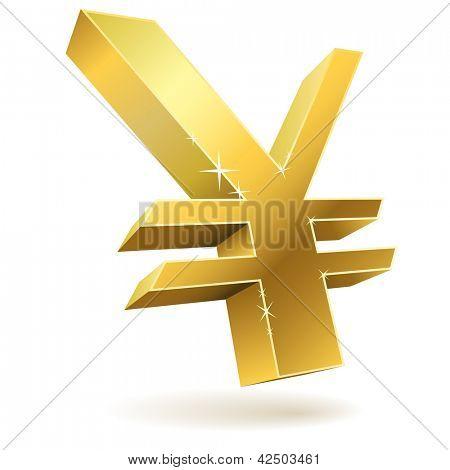 3D golden Japanese yen sign isolated on white vector illustration.