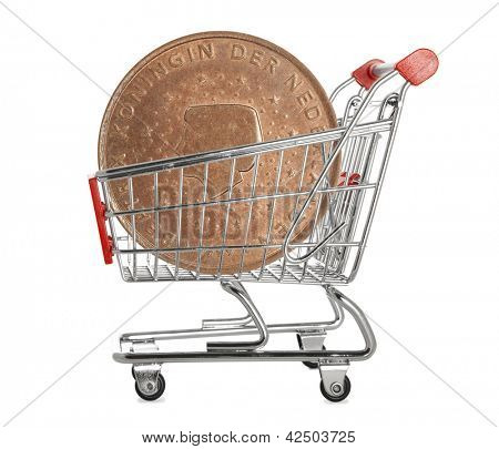 Ten euro cents coin in a shopping trolley on white background