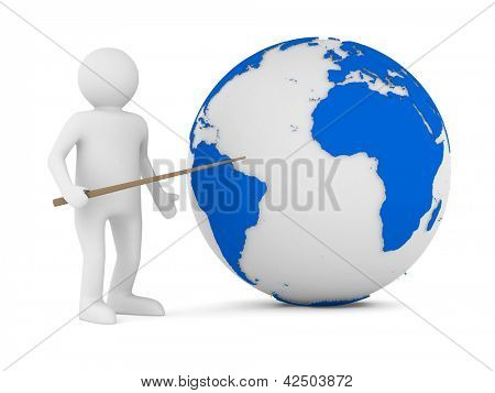Men with pointer on white. Isolated 3d image