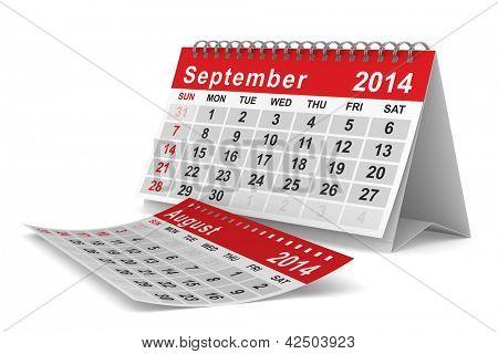 2014 year calendar. September. Isolated 3D image