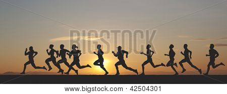 Marathon, black silhouettes of runners on the sunset