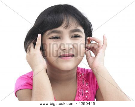 Asian Girl Of Indian Origin With Earphone