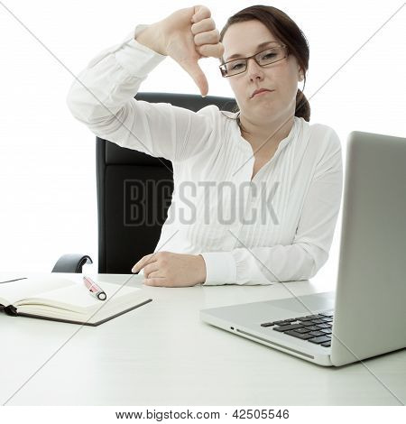 Young Brunette Businesswoman With Glasses Desk Thumb Down