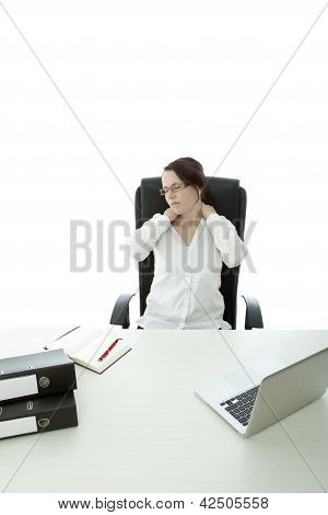 Young Brunette Business Woman With Glasses Pain In Neck On Desk