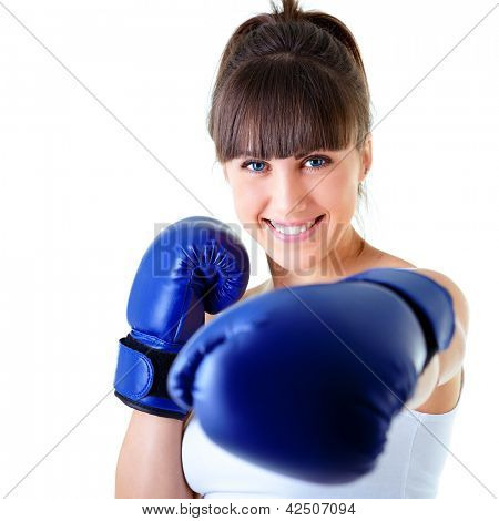 sport young woman happy smiling in boxing gloves, face of fitness girl studio shot over white background