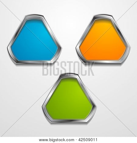 Abstract triangle shapes with silver frame. Vector background eps 10