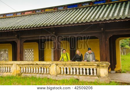 Tourists in Imperial City (Citadel) in Hue, Vietnam