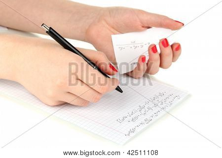 Write off exam isolated on white