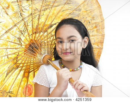 Asian Girl Smiling And Holding A Traditional Oriental Umbrella
