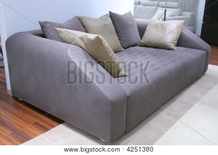 Sofa With Leather Pillow