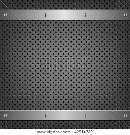 Metal Background With Aluminum Plate With Gradient Mesh, Vector Illustration