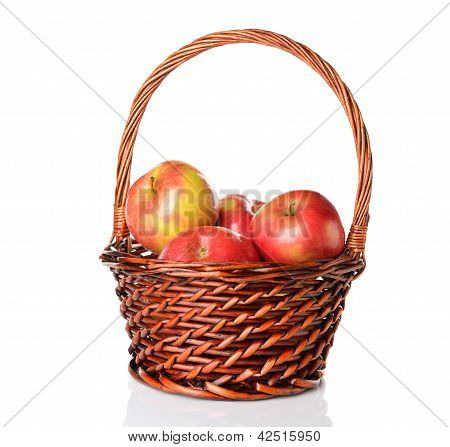 Apples in a brown basket