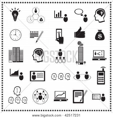Business Icon Set : Human Resources And Management, Vector Illustration