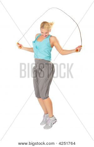 Woman Jumps With A Skipping Rope