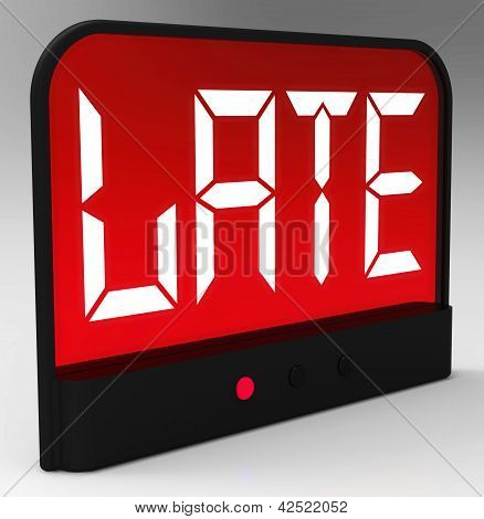 Late Message On Clock Shows Tardiness