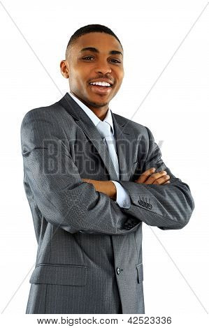 Portrait of African American businessman with arms crossed