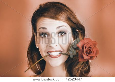 Surprised Young Woman Getting Valentine Flower