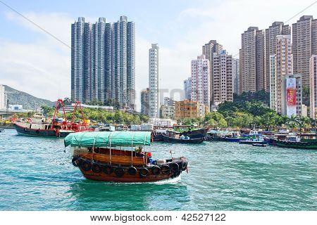 Traditional junks in the Aberdeen Bay. Hong Kong