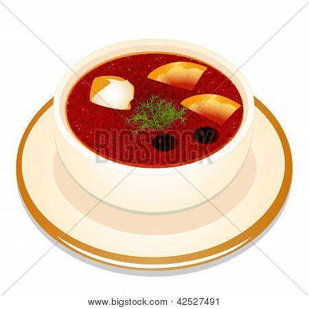 illustration of Ukrainian hodgepodge soup with sour cream in