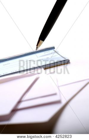 Check Writing with Checkbook and Pen