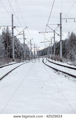 Empty Electric Mainline Railway In Winter Woods