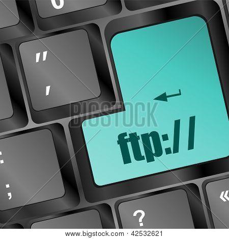 Teclado de computador com chave de Ftp, o fundo de tecnologia