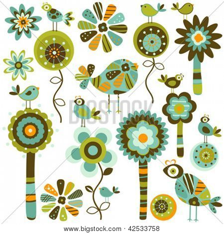 whimsy  flowers and birds