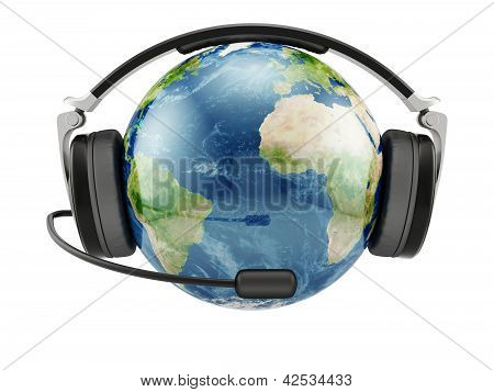 Earth Planet With Earphones And Microphone