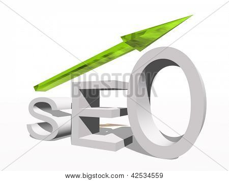 Conceptual 3D seo symbol with an arrow isolated on white background
