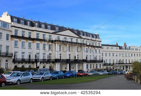 Grand hotel building on Esplanade in Scarborough, England.
