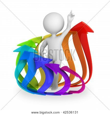 Abstract Character Inside Circle Of Colorful Arrows