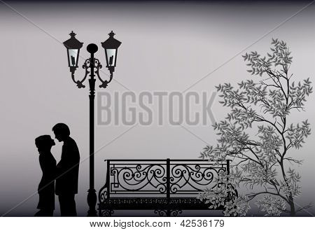 illustration with couple near bench and lantern